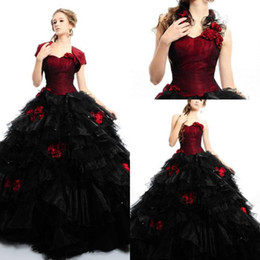 Wholesale Cheap Short Red Quinceanera Dresses - 2015 Red and black Quinceanera Dress sweetheart organza ball gown quinceanera dress price under 180,cheap prom dress Girls Party Gowns