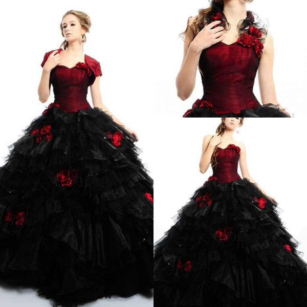2015 Red and black Quinceanera Dress sweetheart organza ball gown quinceanera dress price under 180,cheap prom dress Girls Party Gowns