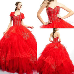 Wholesale Beautiful Dress Up - 2015 Red Beautiful Quinceanera Dresses Ball Gown Organza with Applique Cascading Ruffles Sweetheart Formal Quinceanera Gowns Sweep Train