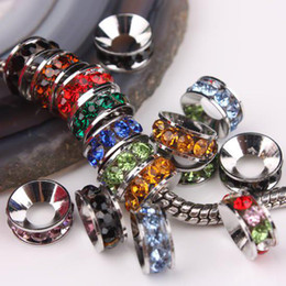 Wholesale European Crystal Spacers - 10mm 100pcs   Rhodium Plated   Multi Color Crystal Rhinestone   Big Hole European   Spacers Beads   Fit Charm Bracelet