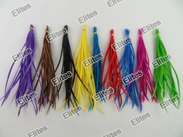 Wholesale feather extensions wholesale - Stripped Goose Feathers Real Feather Hair Extension Extensions 100 Feathers + 100 beads SGF007