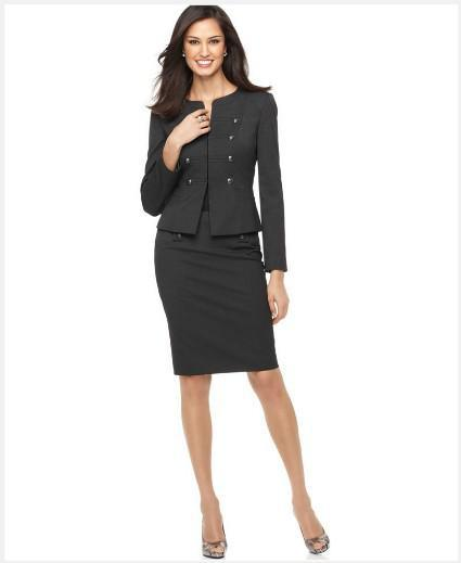 Women's Suit Long Sleeve Military Cadet Jacket & Pencil Skirt ...