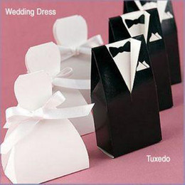 Wholesale Gown Boxes Wholesale - 200 pcs bride groom candy box wedding bridal favor gift boxes gown tuxedo New
