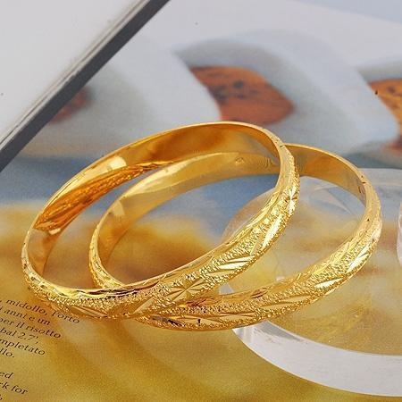 bangles gold double diamond women yellow natural bangle item real wave for solid bracelet row