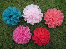 """Wholesale Rosette Flowers Mix - 50pcs lot 3""""chiffon silk flowers,rosette flowers,petti skirt flowers, mix colors"""