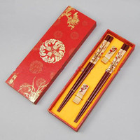 Wholesale Personalized Chopstick - Personalized Engraved Chopsticks Gift Sets Wooden Plum With Box 2 Set  pack (1set=2pair) Free