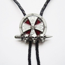 $enCountryForm.capitalKeyWord Canada - New Vintage 3D Celtic Skulls With Sword Bolo Tie BoloTie Leather Necklace BOLOTIE-3D043 Free Shipping Brand New In Stock