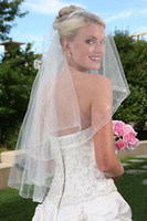 Wholesale Sew Applique Beads - stunning hand-sewn crystals and bugle beads 2-layer thin pencil edging wedding veil 015