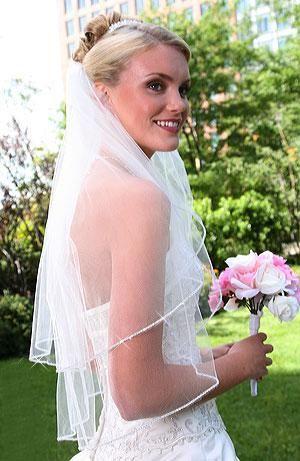 Piccolo strass cinese Perline Bordo Velo Tulle bianco Elegante velo da sposa 2 strati 016