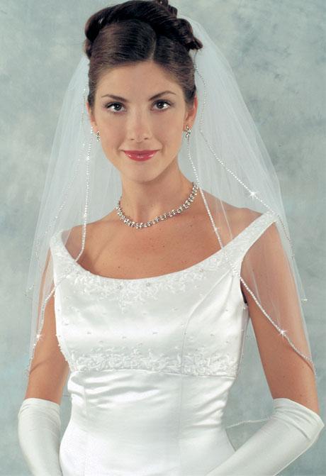 صغيرة الصينية حجر الراين مطرز حافة الحجاب الأبيض تول أنيقة 2-طبقة الحجاب الزفاف 016