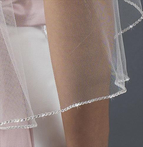 Small Chinese Rhinestone Beaded Edge Veil White Tulle Elegant 2-layer wedding veil 016
