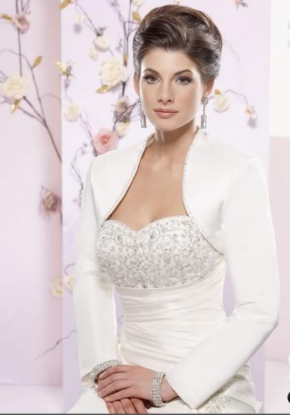 2018 Long Sleeve Satin Wedding Bride Shrug Bolero Jacket Free Size ...