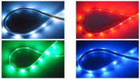 Wholesale Red Led Grill Lights - Free ship LED Strip Car Lights 24cm 48cm 96cm Flexible Grill Light 5 color free choice