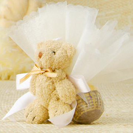 Wholesale Teddy Bear Favor Boxes - 50 Pcs Teddy Bear With Organza Bags Wedding Favor Gift box Candy Boxes