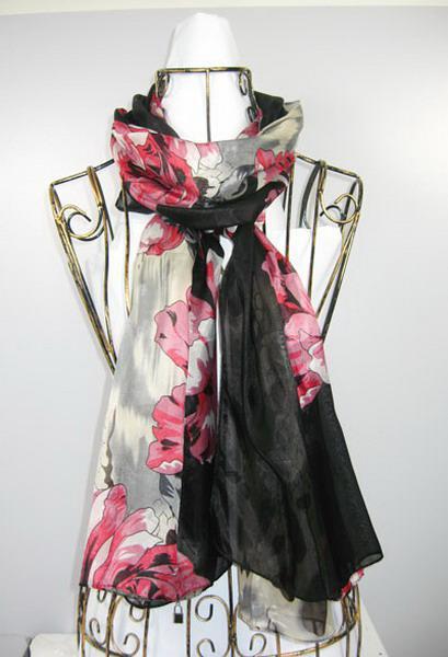 ladies long 100% silk feeling polyster Scarf ponchos wrap scarves TOP sale shawls #1382