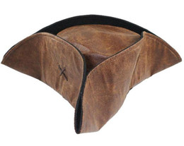 Chinese  Brown Tricorn Caribbean Pirate Jack Hat Sparrow ADULT Costume HAT .Free Shipping 10 PCS manufacturers