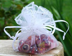 White Round Shape Gift Bag Organza Wrap Wedding Favor 25cm Diameter with Sequins