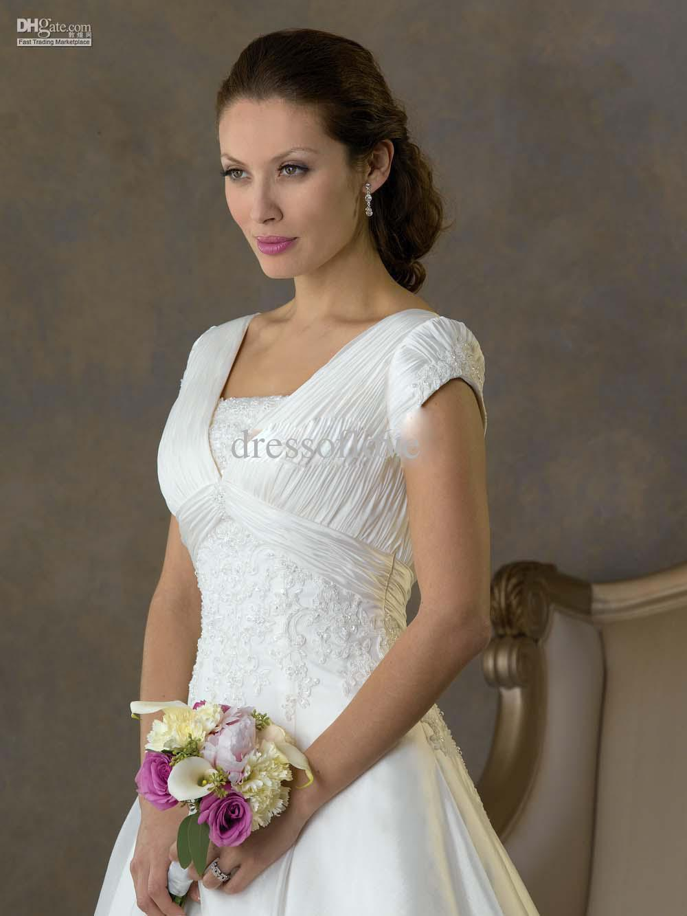 Discount 2011 new modest gown short sleeve wedding dresses see larger image ombrellifo Gallery