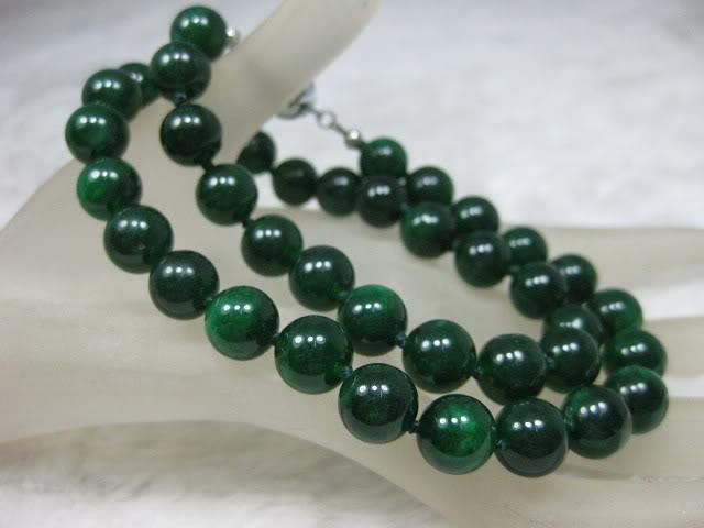 2018 nature dark green jade jadeite 10mm bead necklace 18 for Pictures of jade jewelry