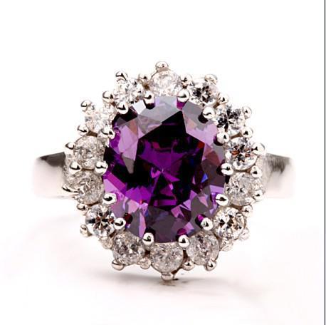 The most popular purple gemstone ring 18K white gold stylish fine jewelry gifts Free shipping 10pcs