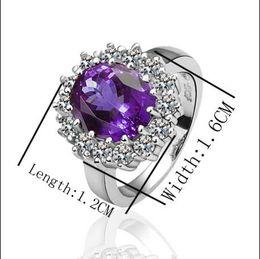 Anéis roxos de ouro branco on-line-O mais popular roxo gemstone anel 18 K ouro branco elegante jóias finas presentes Frete grátis 10 pcs