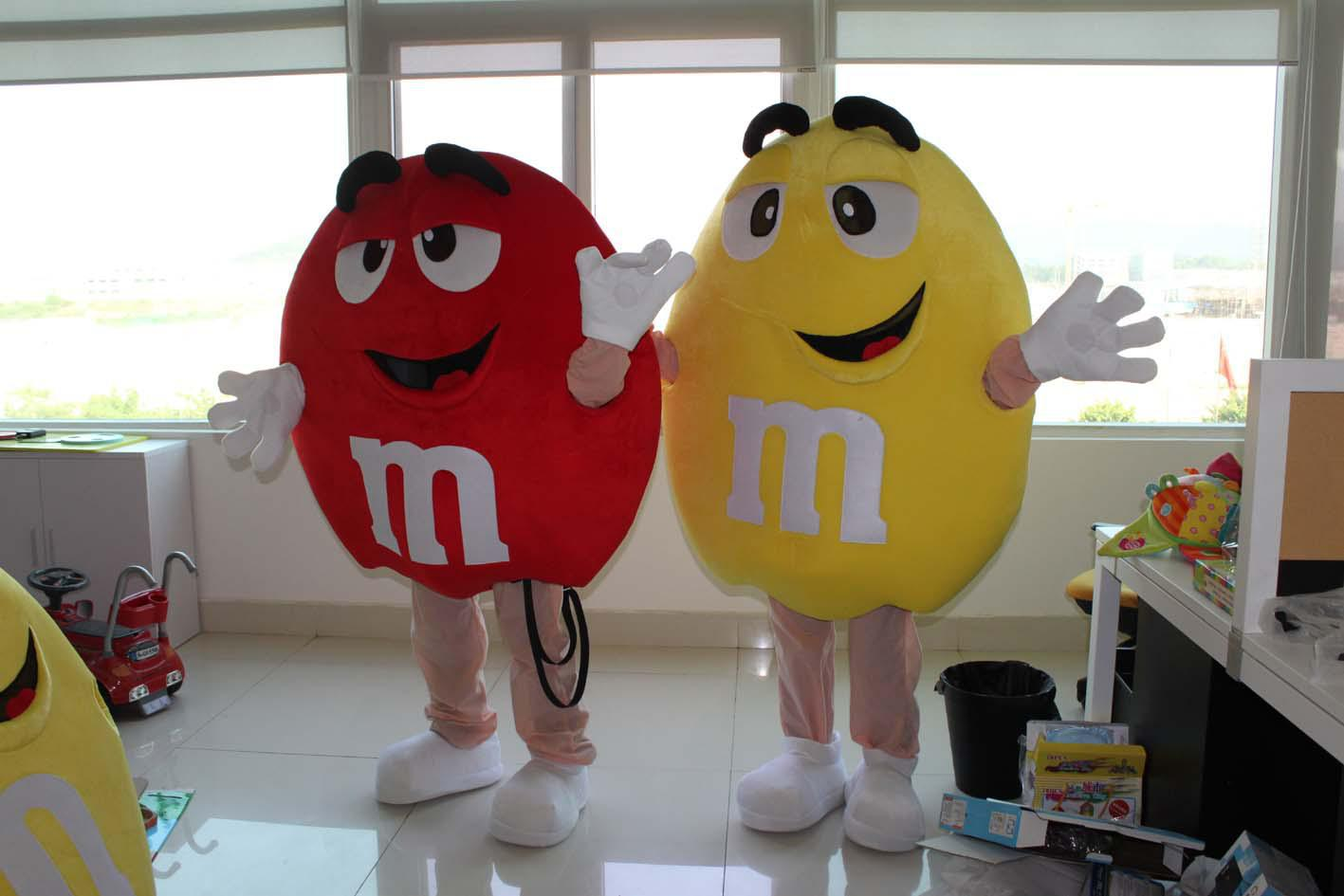M chocolate candy red and yellow mascot costume free s