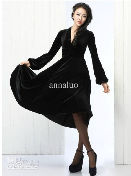 Fashion Dresses V Neck Long Sleeve Black Velvet Big Skirt Plus ...
