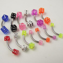 Wholesale Dice Eyebrow - 50pcs lot free shipping 16g Stainlessl Steel eyebrow ring dice eye ring promotion