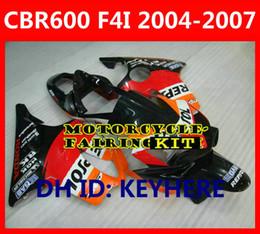 Partes de honda cuerpo online-Repsol partes del cuerpo Juego de carenado para Honda CBR600 F4I 2004-2007 Diseño como parabrisas naranja / negro Freeshipping