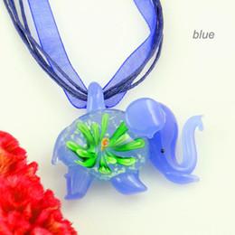 Wholesale Cheap Wholesale Art Glass - Luminous elephant flowers inside glass art pendants Fashion jewelry pendants Fashion pendant necklaces cheap china fashion jewelry mup074