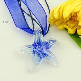 Wholesale Murano Glass Starfish - Latest luminous starfish Italian venetian lampwork murano glass handmade cheap pendants for necklaces cheap fashion jewelry Mup075