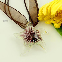 Wholesale Cheap Starfish Jewelry - Luminous starfish flowers inside hand blown glass pendants Fashion jewelry in bulk Handmade necklace cheap china fashion jewelry Mup075