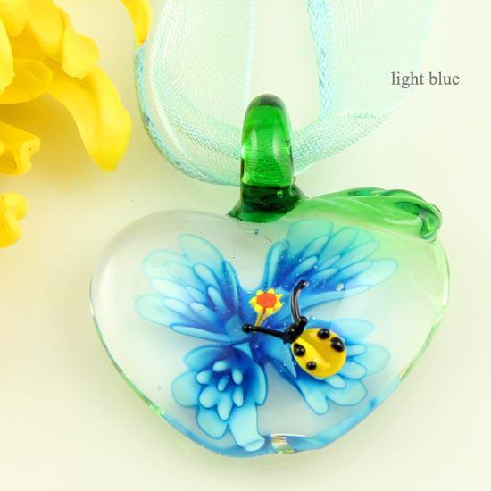 Floral Flower Apple Lieveheersbeestje Murano Glas Italiaanse Venetiaanse Lampwork Handgemaakte Hangers voor Kettingen Sieraden Goedkope Fahsion Sieraden MUP083