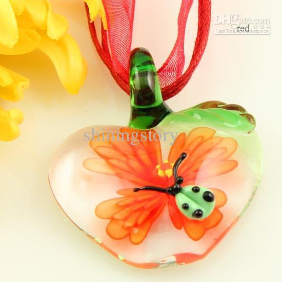 Klassieke Apple Lieveheersbeestje Italiaanse Venetiaanse Lampwork Blown Murano Glas Hangers Voor Kettingen Sieraden Mode Sieraden Ketting MUP083
