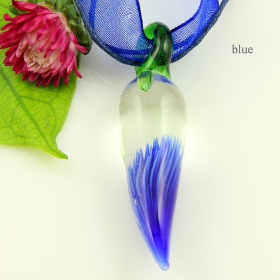 Piment fleur de piment italien vénitien soufflé en verre de murano pendentifs à la main pour colliers bijoux pas cher Chine bijoux de mode Mup084