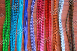 Wholesale Grizzly Mix - Grizzly Synthetic Rooster Feather Hair Extension Feathers Extensions 100pcs + 100 Free Beads SFF007