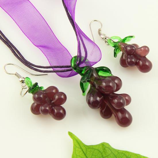 Frukt lampaverk blåst venetian Murano handgjorda glas hängen halsband och örhängen smycken sätter mode smycken i bulk mus034
