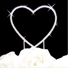 """Wholesale Hearts Cake Toppers - Hot Item--4"""" High Quality A-Grade Clear Rhinestone single Heart Wedding or Anniversary Cake Topper"""