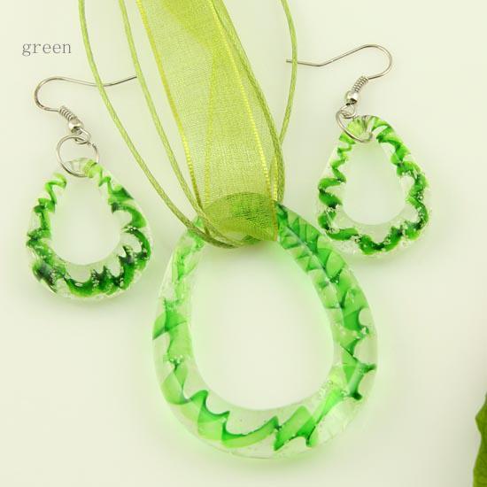 Hübsche leuchtende Murano Glas Murano Glas Anhänger Halsketten und Ohrringe Schmuck Sets