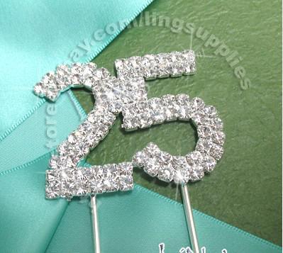 Articolo caldo - 4cm di alta qualità A-Grade Clear RhinestoneDiamante 25th Anniversary Silver Cake Topper