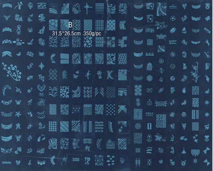 Tamaño GRANDE 268 + 221 DISEÑOS DE MODA DIY Nail Art Stamp A # B #