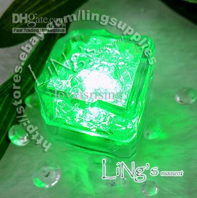 Lowest price-free shipping-12pcs RED Green Ice Cube Light Wedding Party Christmas Decoration