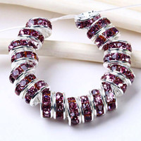Wholesale 6mm rhinestone rondelle - 6MM Amethyst Rhinestone Rondelle Spacer Beads, Silver Plated, Top-quality Jewelry Findings-100PCS