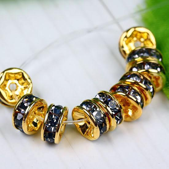 6MM Black Diamond Rhinestone Rondelle Spacer Beads Findings, Gold Plated, Top-quality, 100PCS