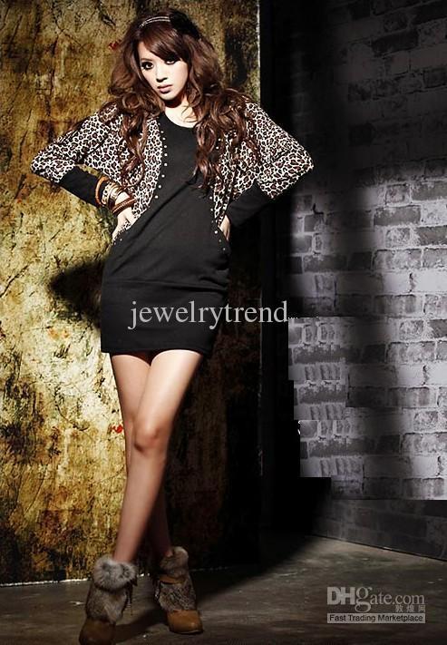 Abito di cotone delle donne calde di trasporto libero Leopard Bat-ala manica lunga Patchwork Top Tops Mini abito nero / kaki