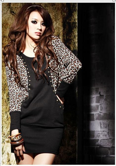 Hot Women's Cotton Dress Leopard Bat-wing Long Sleeve Patchwork Long Tops Mini Dress Black/Khaki