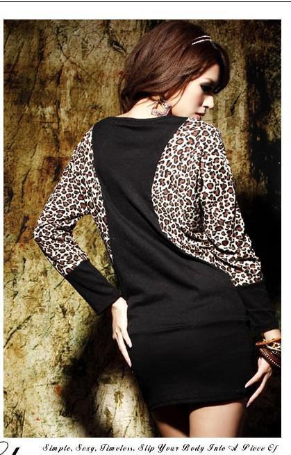 Ücretsiz Kargo Sıcak kadın Pamuk Elbise Leopar Yarasa-kanat Uzun Kollu Patchwork Uzun Mini Elbise Siyah / Haki Tops