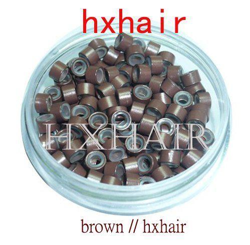 1000pcs 실리콘 마이크로 알루미늄 반지 구슬 / 블랙 D- 브라운 브라운 L- 브라운 D- 금발 Blond와 4.5 mm