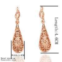 Wholesale Rose Pierced Earrings - 20pair lot new pattern in 18K rose gold rose gold pierced earrings beautiful fashion