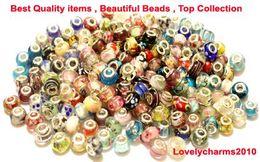 Wholesale Lampwork Beads 925 - LOT200PCS 925 STERLING SILVER MURONA GLASS BEADS LAMPWORK CHARM EUROPEAN FOR PANDORA BRACELET+1 BRACELET GIFT CHRISTMAS